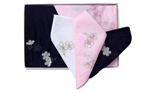 一紫会グッズ 「房桜入りローンハンカチーフ3色」