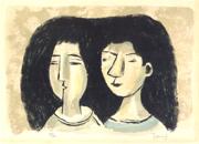 北川民次:二人の女の顔 画像